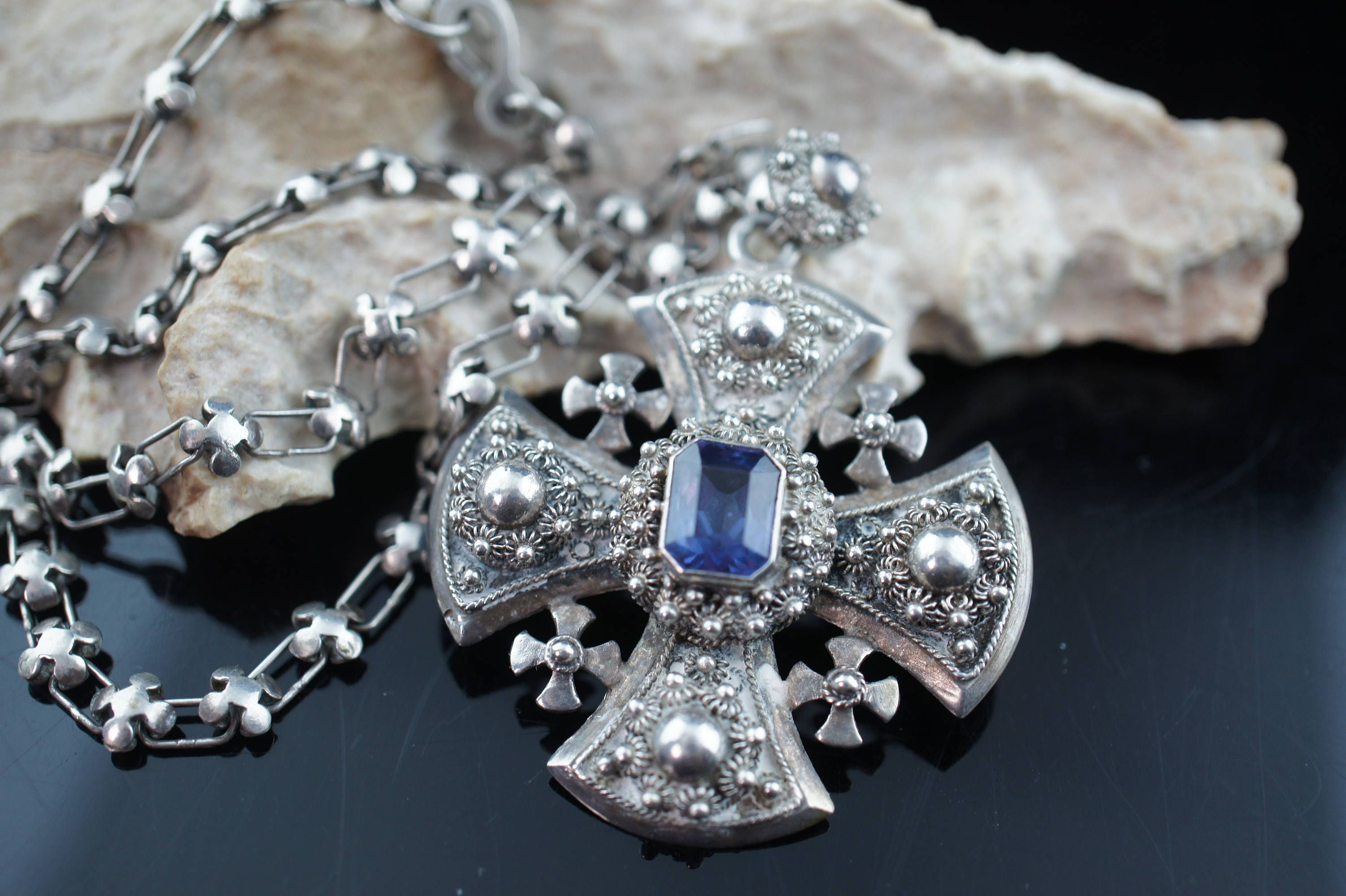 cross pendant silver jerusalem story product within qvc com chain sterling the w page