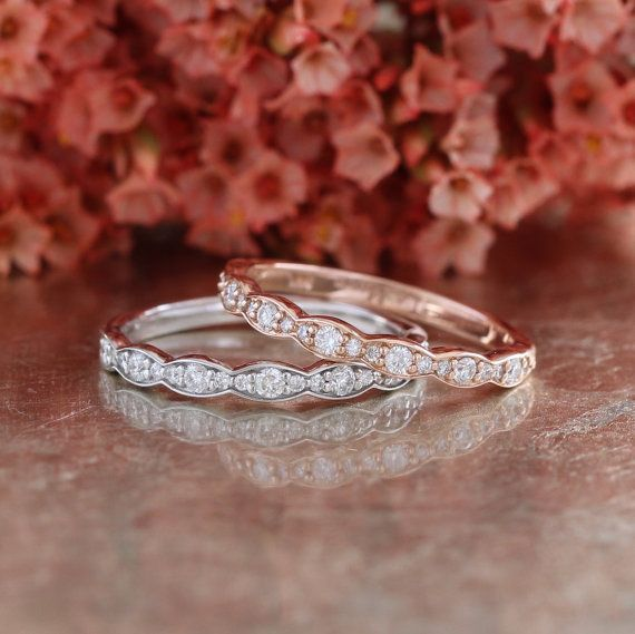 Matching Scalloped Diamond Wedding Ring Vintage Inspired Diamond Anniversary Ring in 14k White