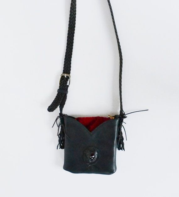 Vintage Black Leather Purse Black and Red by founditinatlanta, $29.00