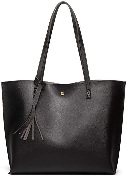 Amazon Com Women S Soft Faux Leather Tote Shoulder Bag From Dreubea Big Capacity Tassel Handbag Black 2 Sho In 2020 Leather Laptop Tote Leather Tote Laptop Tote Bag
