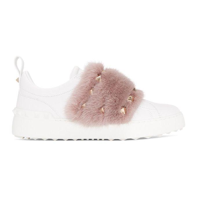 White and Pink Valentino Garavani Mink Open Sneakers Valentino ZYVGbccclD