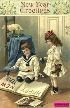 Two Children Reading A Book New Year Vintage Card Suzilove Com New Year Greetings New Year Postcard New Year Greeting Cards