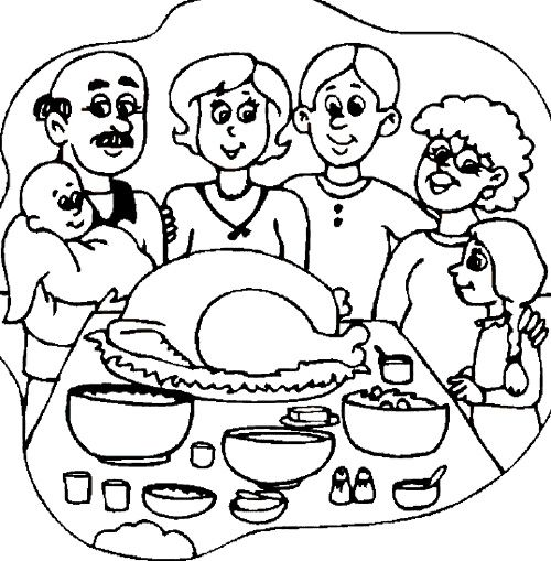 The Big Family Thanksgiving Dinner Coloring Page Family Coloring