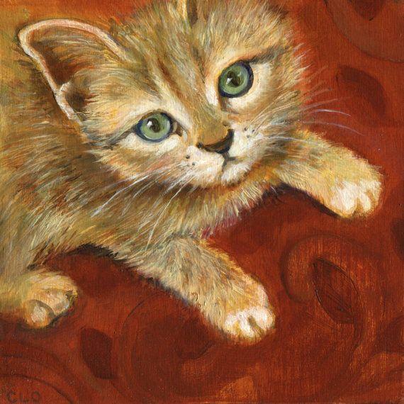 Ginger Kitten, Oil Painting, Cat Painting, Cat Art, Valentine Painting, Orange Cat, Bright Cat Art, Cat Lover, Kitten Art, Cat Decor