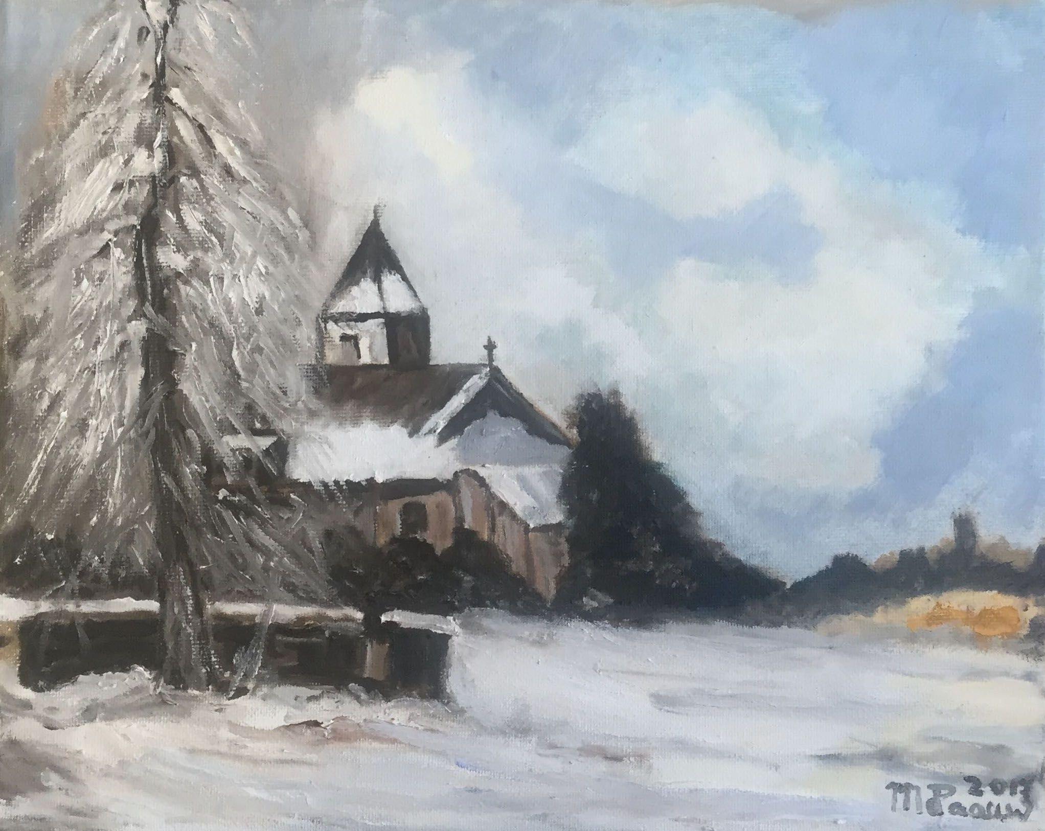 Winterlandschap met kerk door Riet de Paauw.