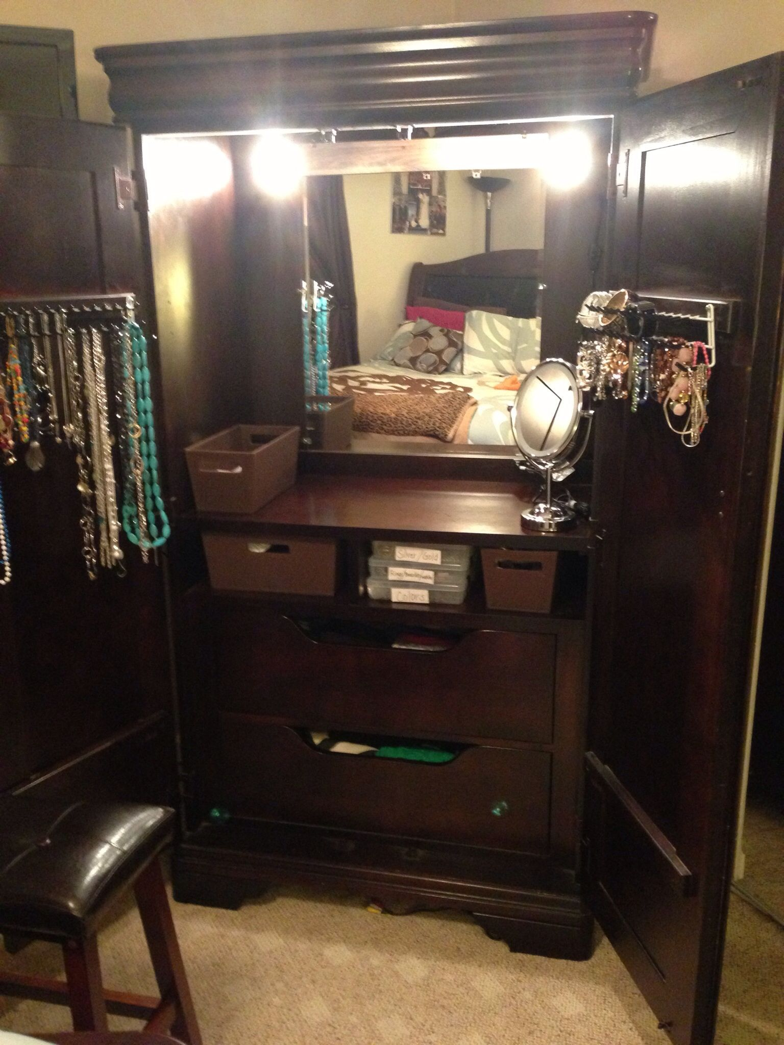 TV armoire makeover makeup vanity ohh I LLLVE
