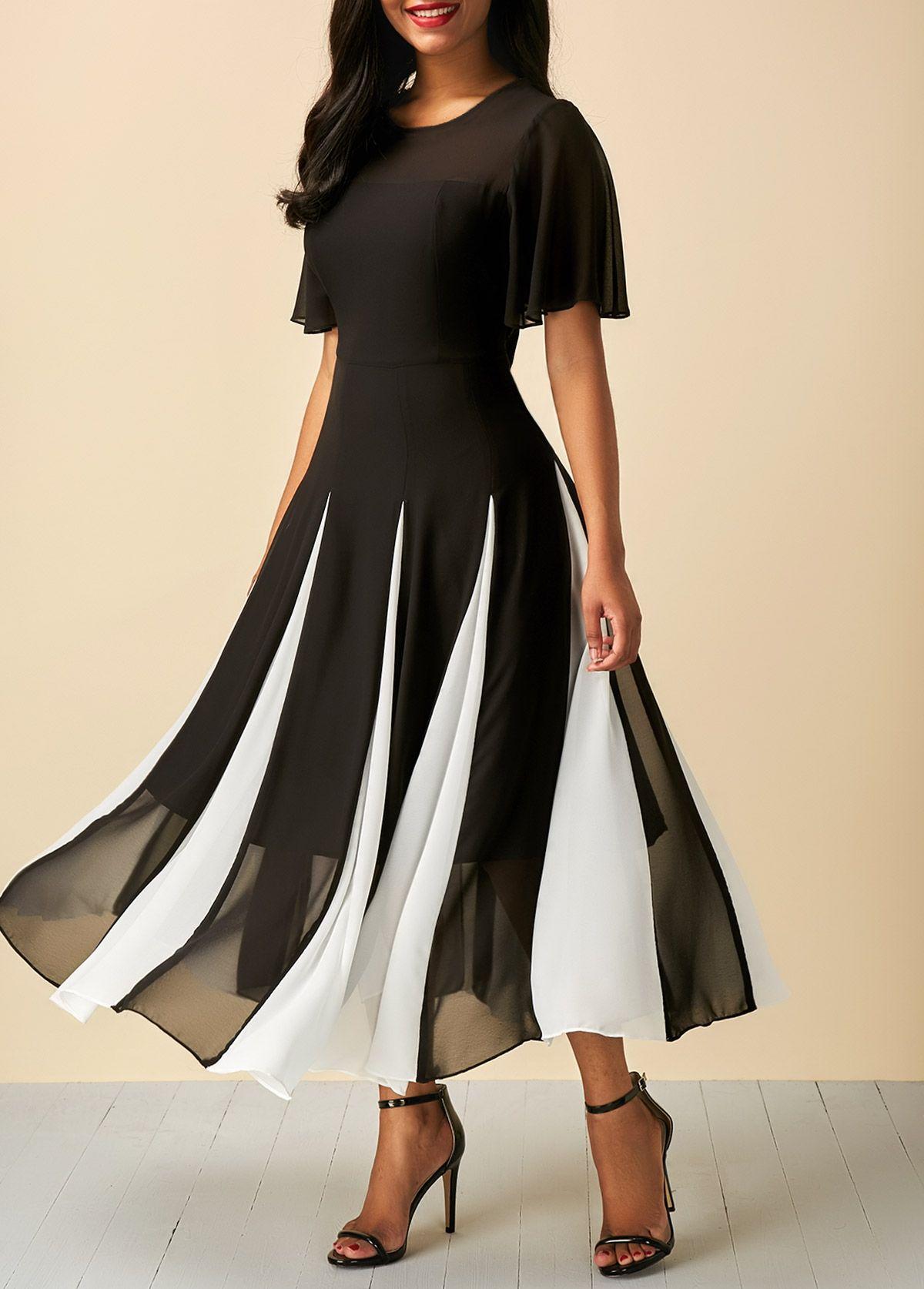 Patchwork short sleeve round neck dress satın alınacak şeyler
