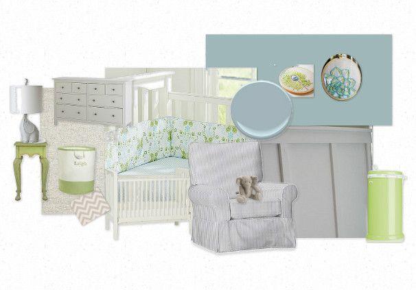blue/green/gray nursery for a girl