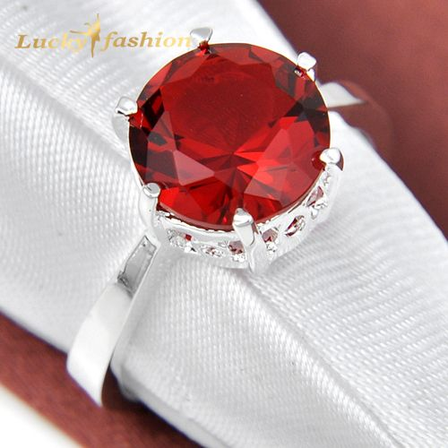 Classic Promotion Shine Round Red Quartz Silver Plated Wedding Rings