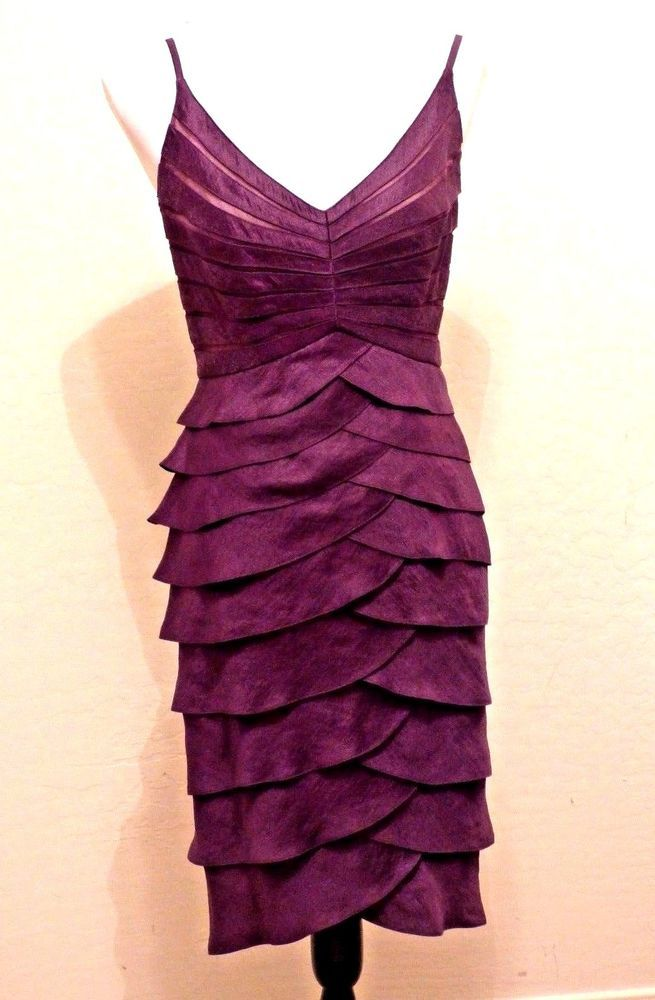 Details about ADRIANNA PAPELL Plum Cocktail Dress Shimmery 14P V ...