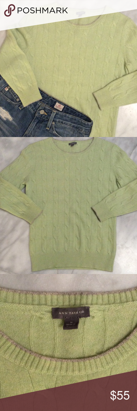 $165 | Ann Taylor cashmere cable knit sweater Cashmere cable knit sweater with 3/4 sleeves in a fun neon green color. The sweater is in great used condition - no pilling, minimal wear. Size M fits size S. 100% cashmere Ann Taylor Sweaters