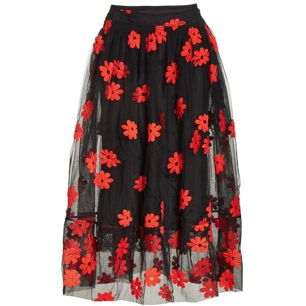 63b3de0615 Women's Simone Rocha Floral Embroidered Tulle Skirt (249.350 HUF) ❤ liked  on Polyvore featuring
