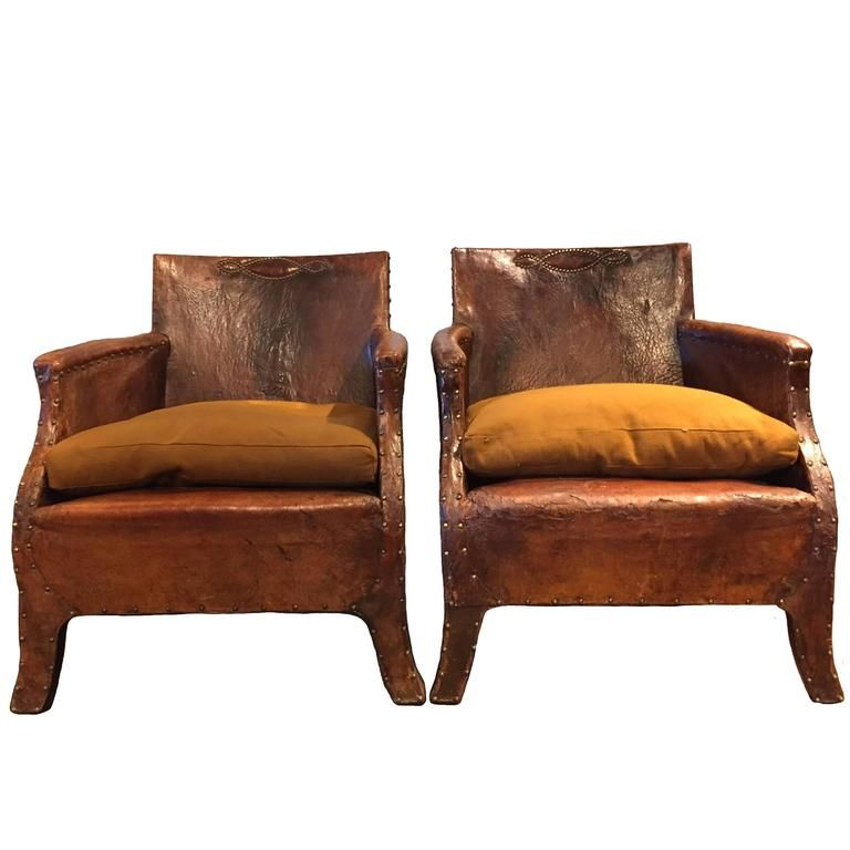 Pair of Leather Chairs, circa 1930 - Pair Of Leather Chairs, Circa 1930 Armchairs, Seat Cushions And