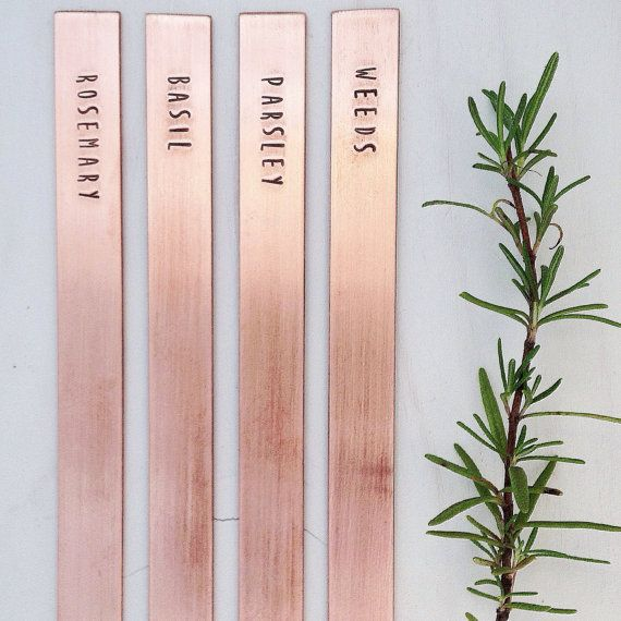 Custom Herb Stakes Copper Garden Marker Set 4 By BERKLEYandBEAN