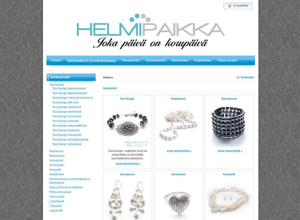 Helmipaikka on korujen maahantuontiyritys. Yritys toteutti omat kotisivunsa Kotisivukone.fi -palvelun avulla.