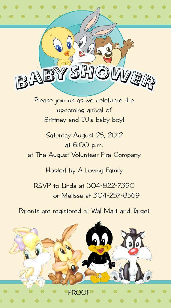Baby Looney Toons Invitations Tiny Toons By Designsbysuzan