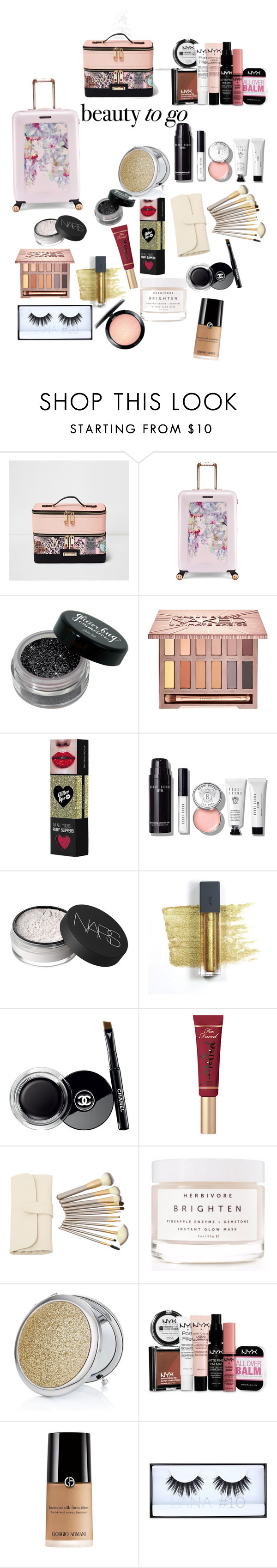 """""""Untitled #102"""" by dolcechez ❤ liked on Polyvore featuring beauty, River Island, Ted Baker, Urban Decay, Bobbi Brown Cosmetics, NARS Cosmetics, Bite, Chanel, Too Faced Cosmetics and Herbivore"""