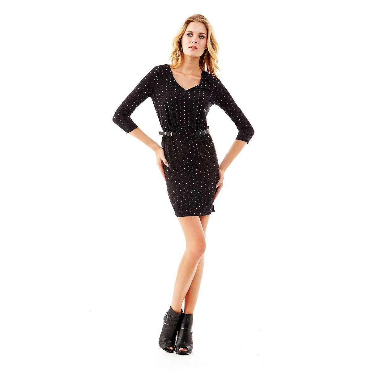 Kleid Stretch long sleeves    Der Stretcheinsatz in der Taille umschmeichelt und betont die Silhouette. Das Stretchkleid hat kleine Schnallen als moderne Verzierung: ein glamouröses Extra für einen schlichten Style.    95% Polyester 5% Elastan.  Handwäsche.  Abgebildet ist Größe S, Längen:  Gesamtlänge ca. 90 cm.  Schultern ca. 35 cm.  Fällt größengetreu aus.  In Multi-Schwarz mit Pünktchenprin...