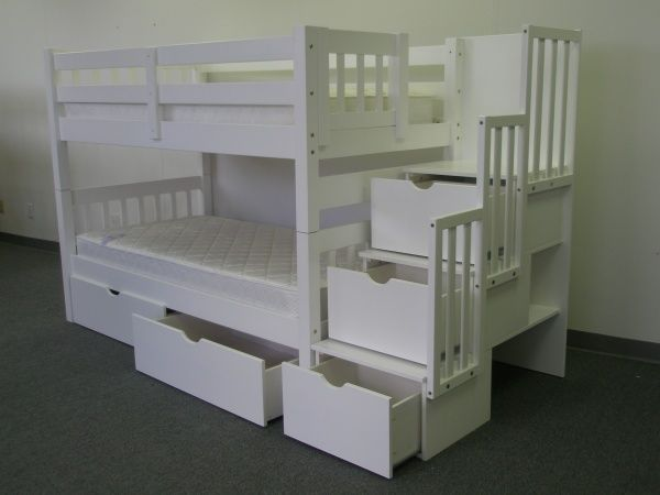 Bunk Beds Twin Over Twin Stairway White + 2 Extra Drawers
