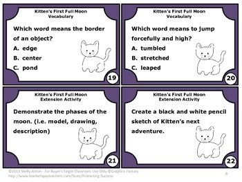 Guided Reading Comprehension Kitten S First Full Moon Task Cards Activities He Reading Comprehension Kittens First Full Moon Reading Comprehension Task Cards