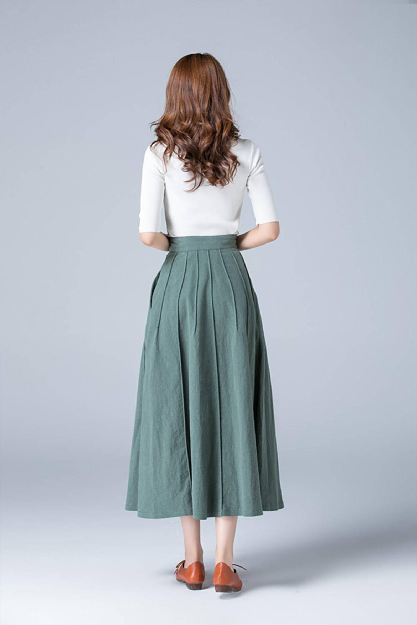 ca625b6006 Green skirt, linen skirt, full skirt, casual skirt, button skirt ...