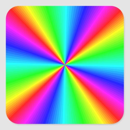 Colorful Bright Rainbow Personalized Square Sticker Zazzle Com In 2021 Rainbow Wallpaper Rainbow Colors Art Rainbow Art