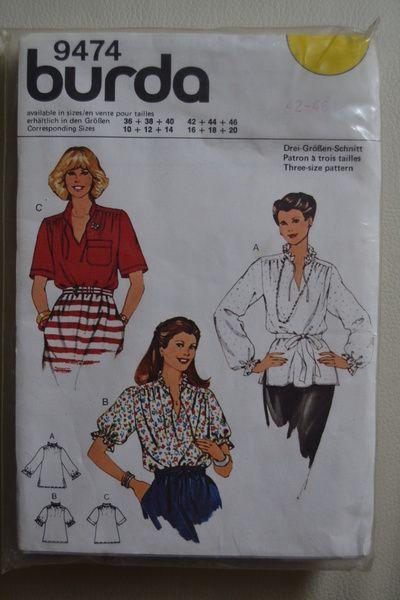 Vintage Schnittmuster - Vintage Schnittmuster Bluse Gr. 42-46 von ...