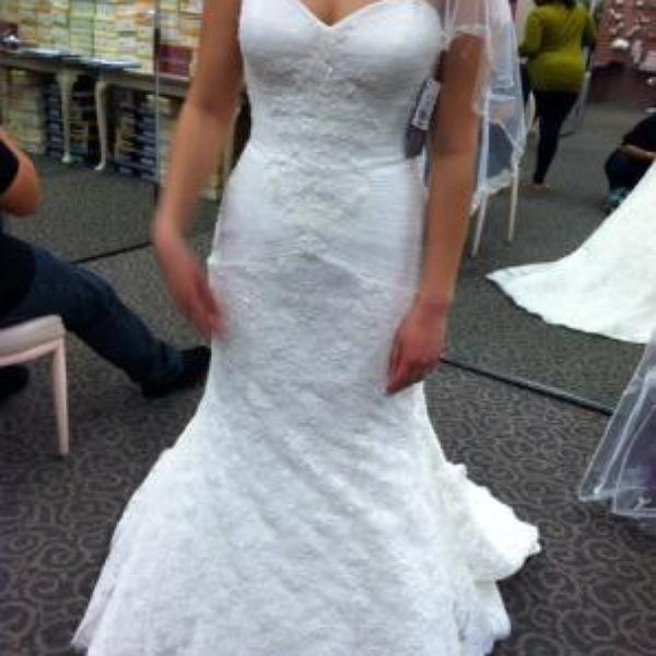 f9b0464230d4 Oleg Cassini Strapless Lace Trumpet Wedding Dress - Davids Bridal ...