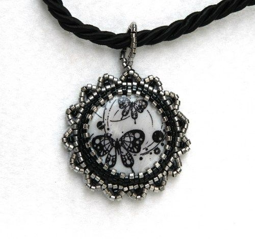 Gothic butterflies bead embroidered pendant necklace with silver beads