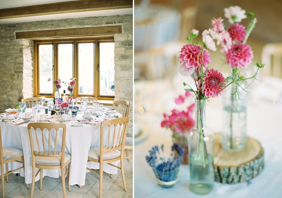 Runda bord med fina blommor