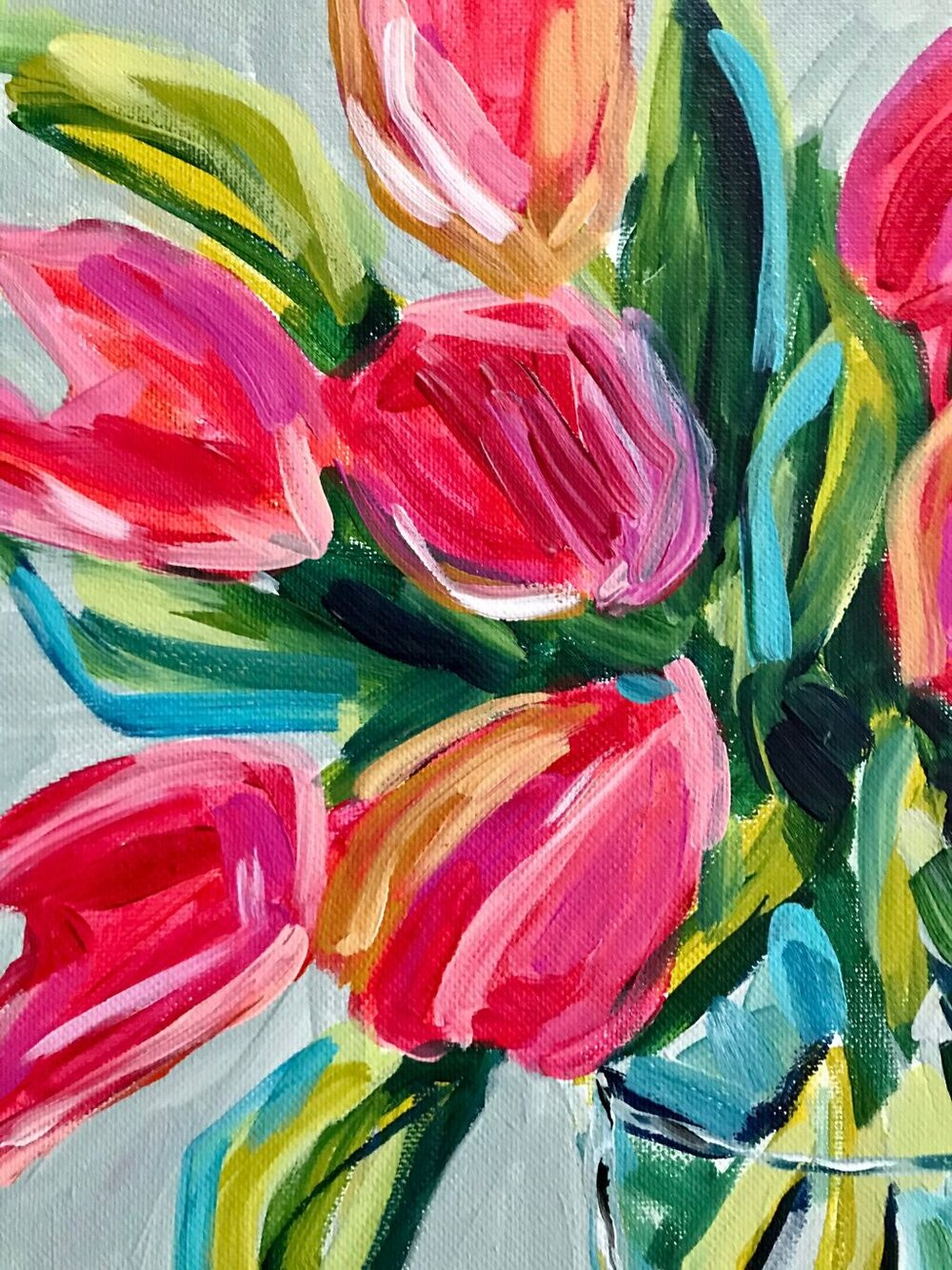 Flower Painting Tutorial: How to Paint Tulips on Canvas with Acrylic Paint  Learn the easy way to paint flowers step by step.  This tutorial is easy to follow even for beginner artists!  #howto #paintingtutorial