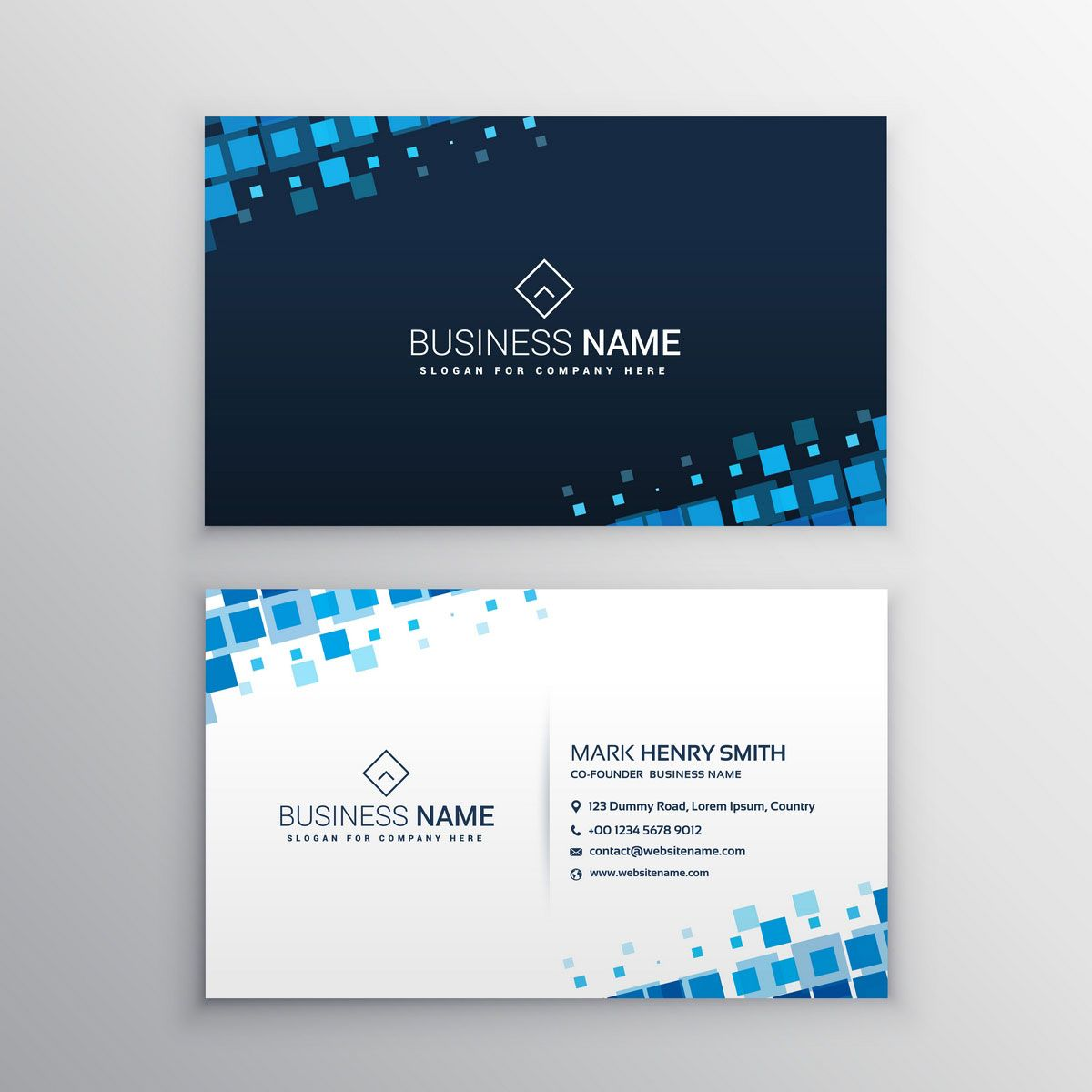 Business Card With Blue Squares Bc006 Download Business Card Professional Business Card Design Professional Business Cards