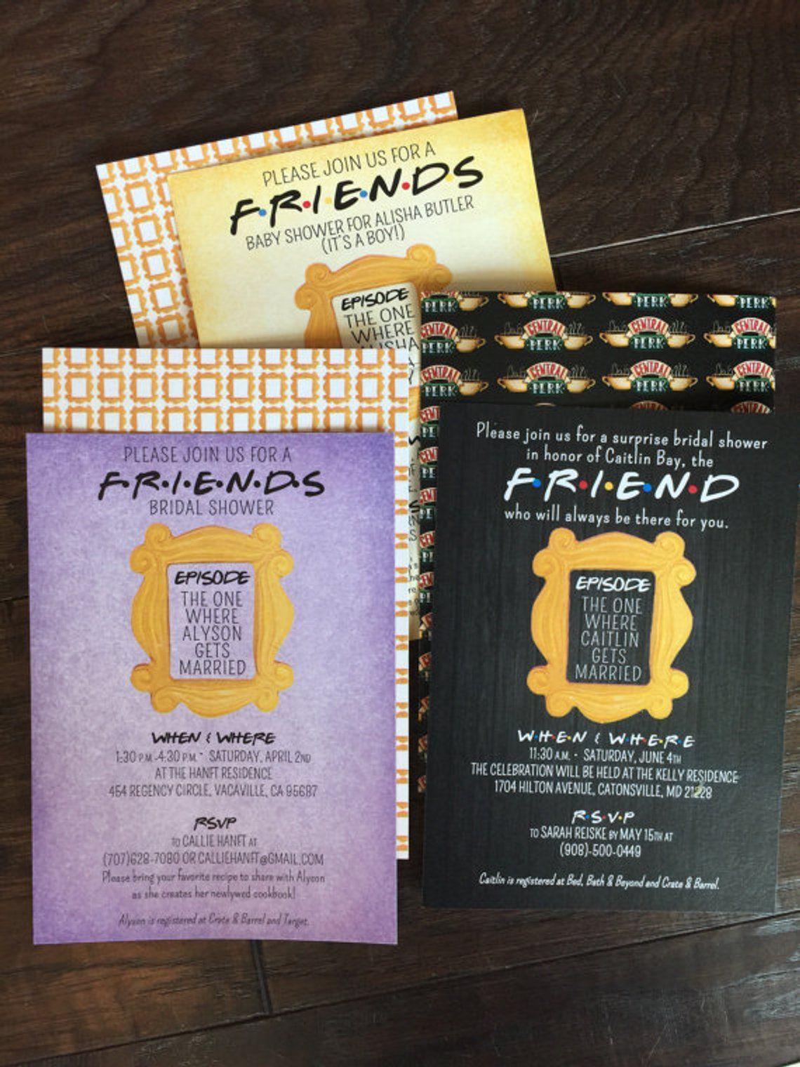 Friends Tv Show Shower Invitation Bridal Birthday Party Baby Theme