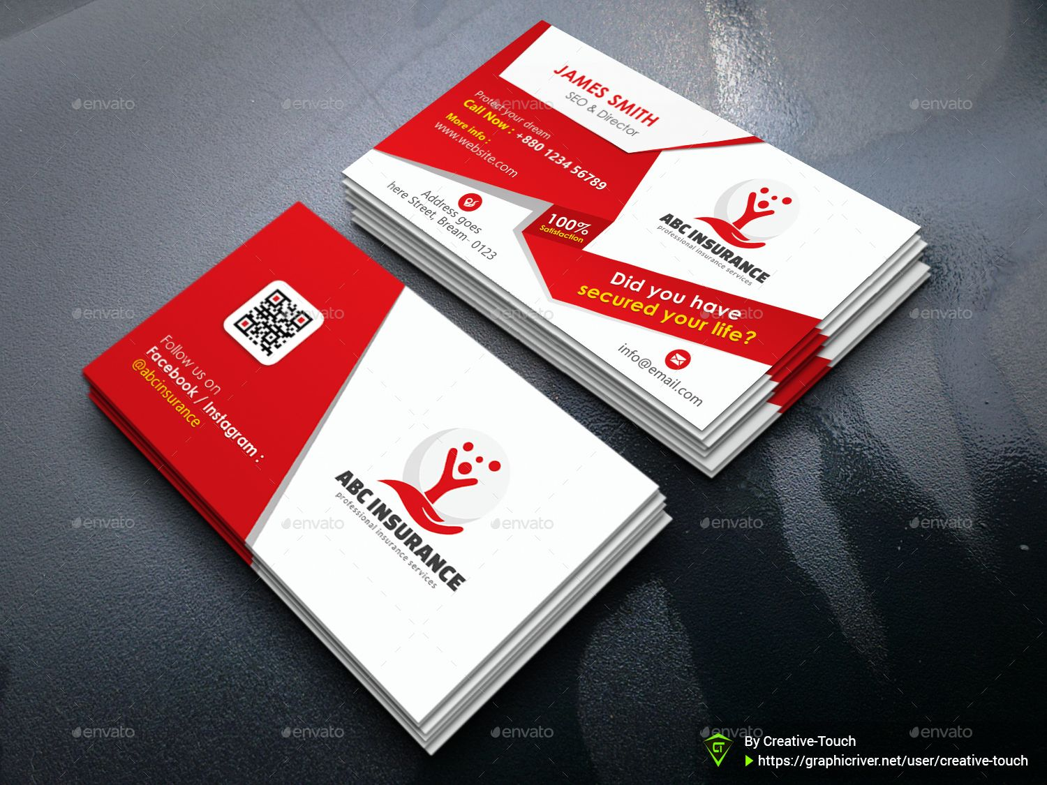 Corporate insurance business card with images business
