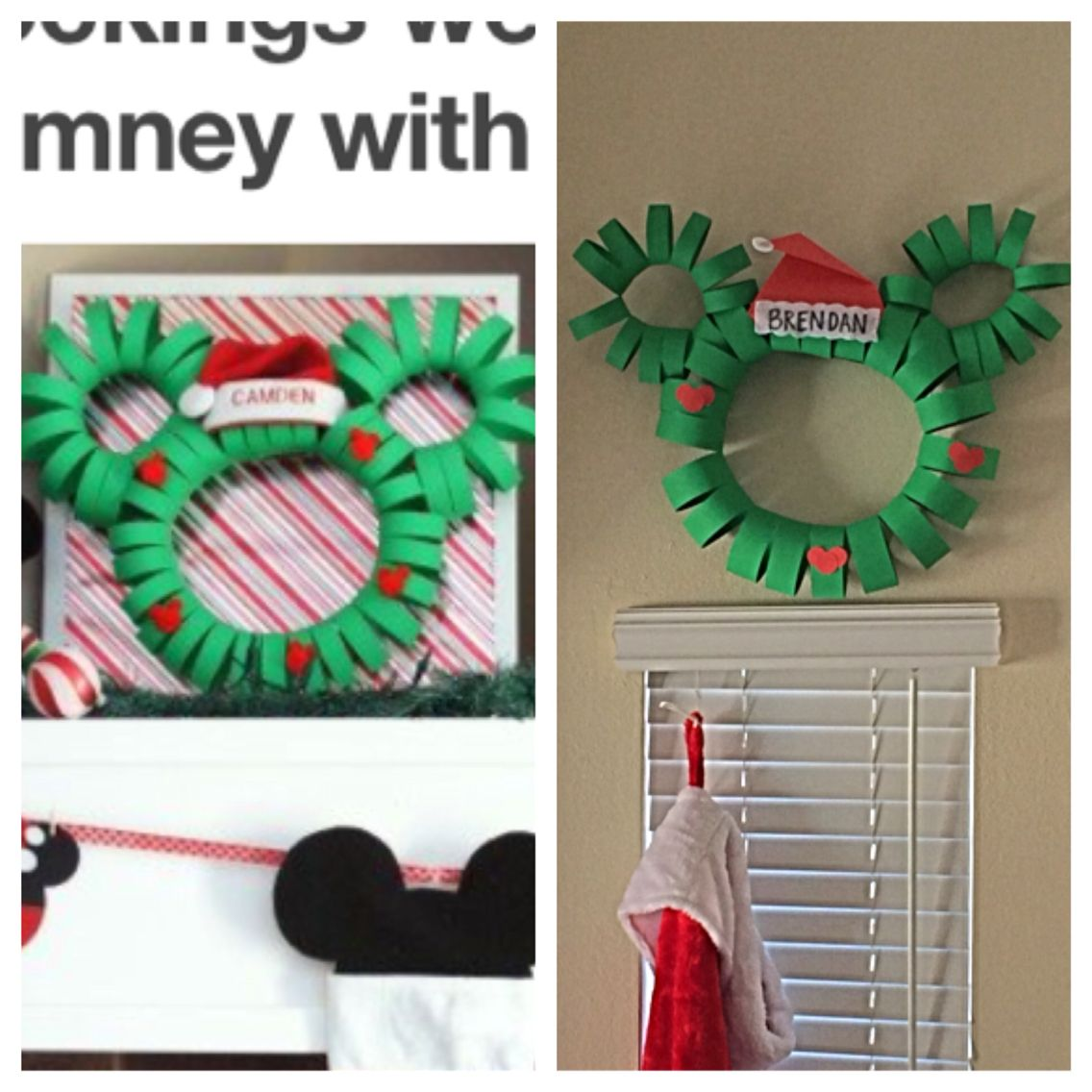 Mickey Mouse Paper Wreath. Fun EASY Project. $3 For Two Large Wreaths.  Dollar. Paper WreathsPoster BoardsChristmas Tree SkirtsProject ...