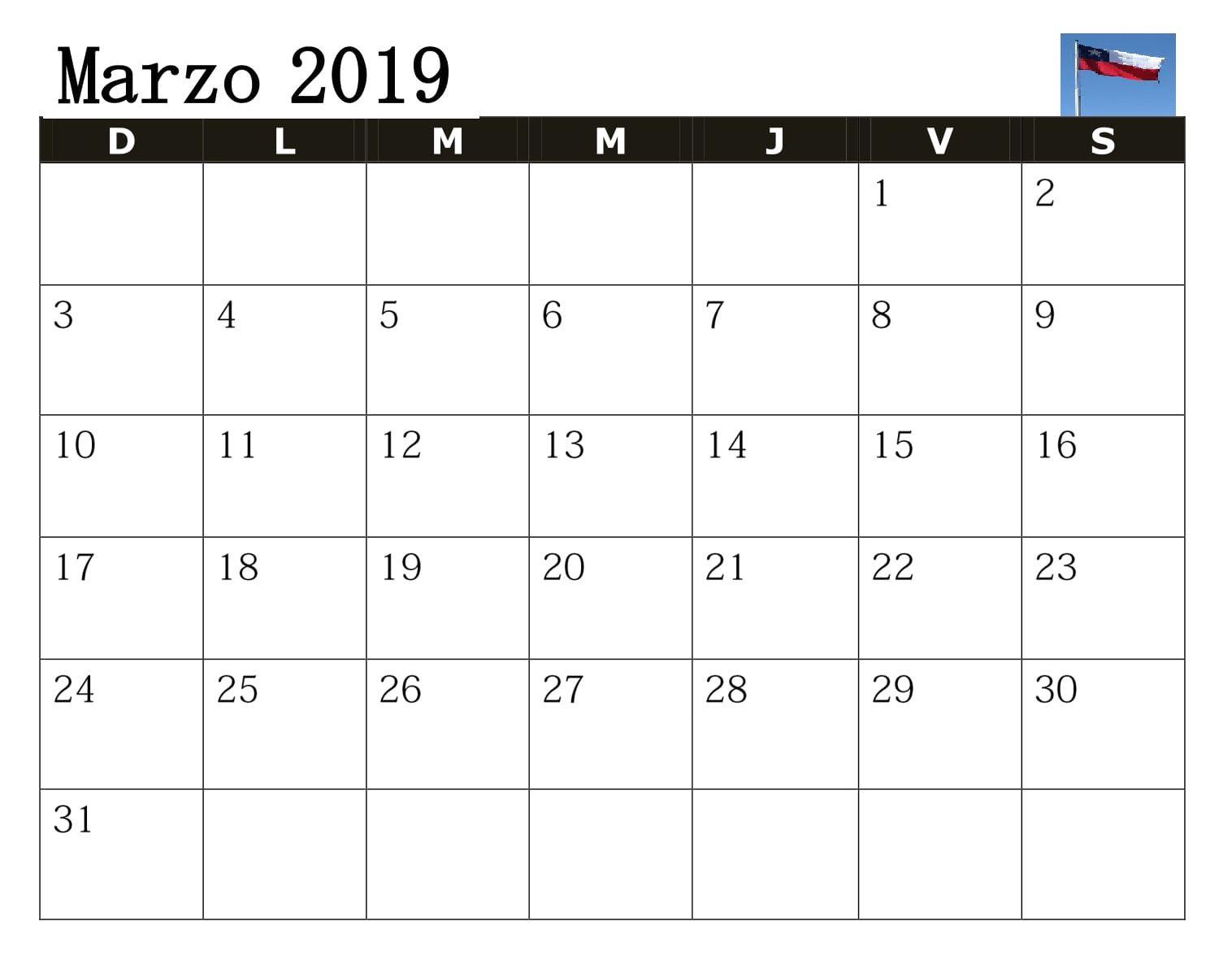 Calendario M.2019 Calendario Marzo Chile Grande Calendario Marzo 2019