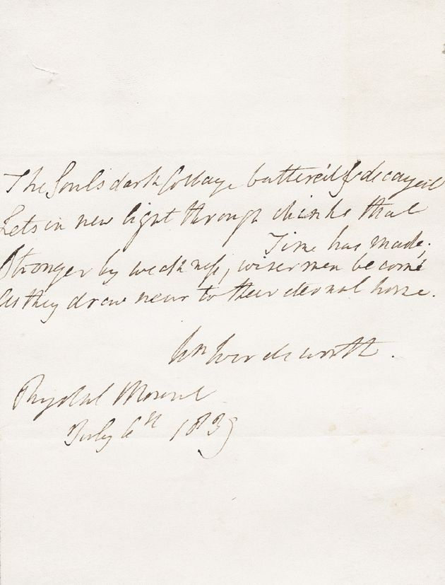 WORDSWORTH, WILLIAM Autograph Note Signed Unframed for sale