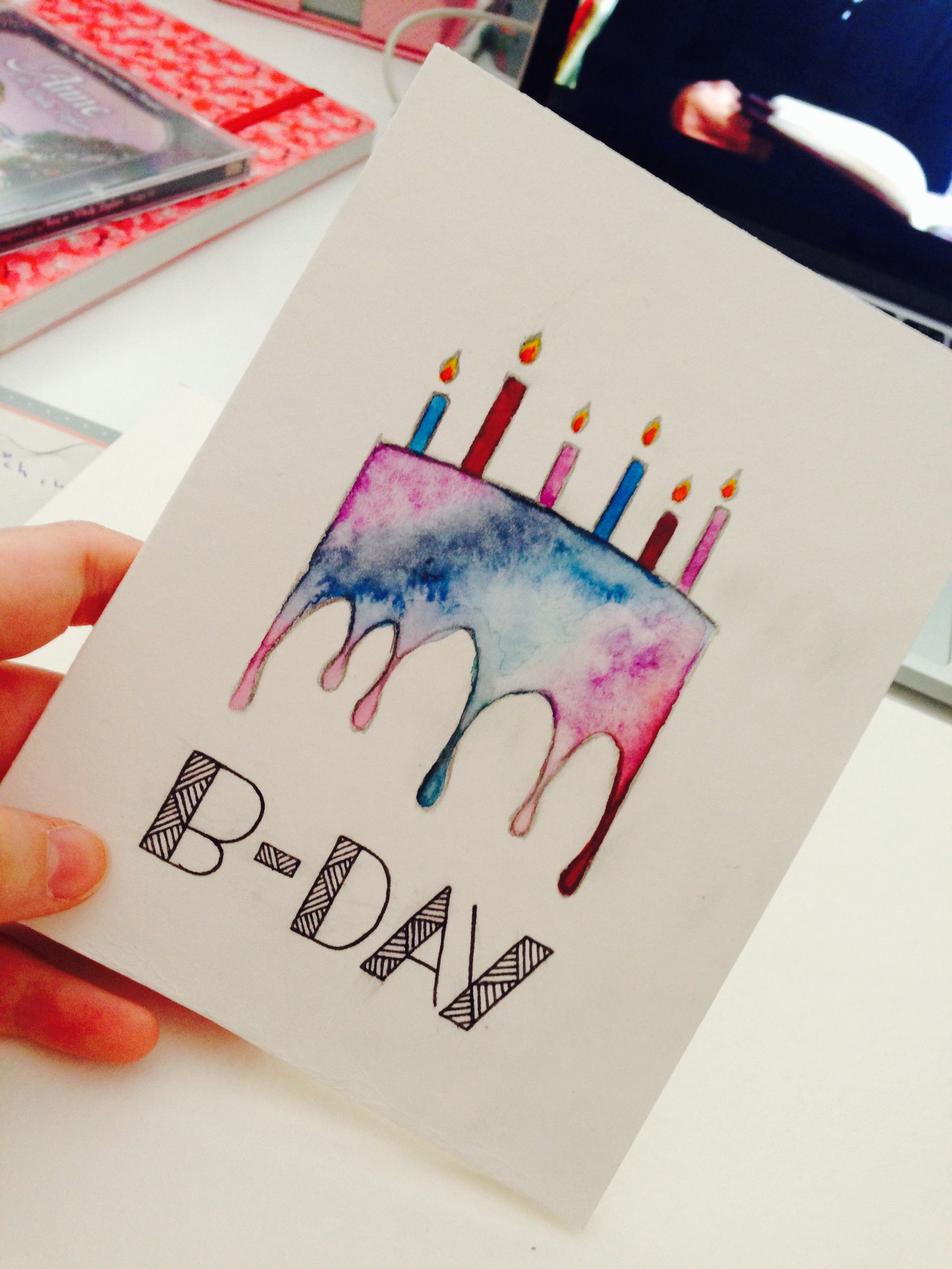 A Really Cool Bday Card Watercolor Birthday Cards Cool