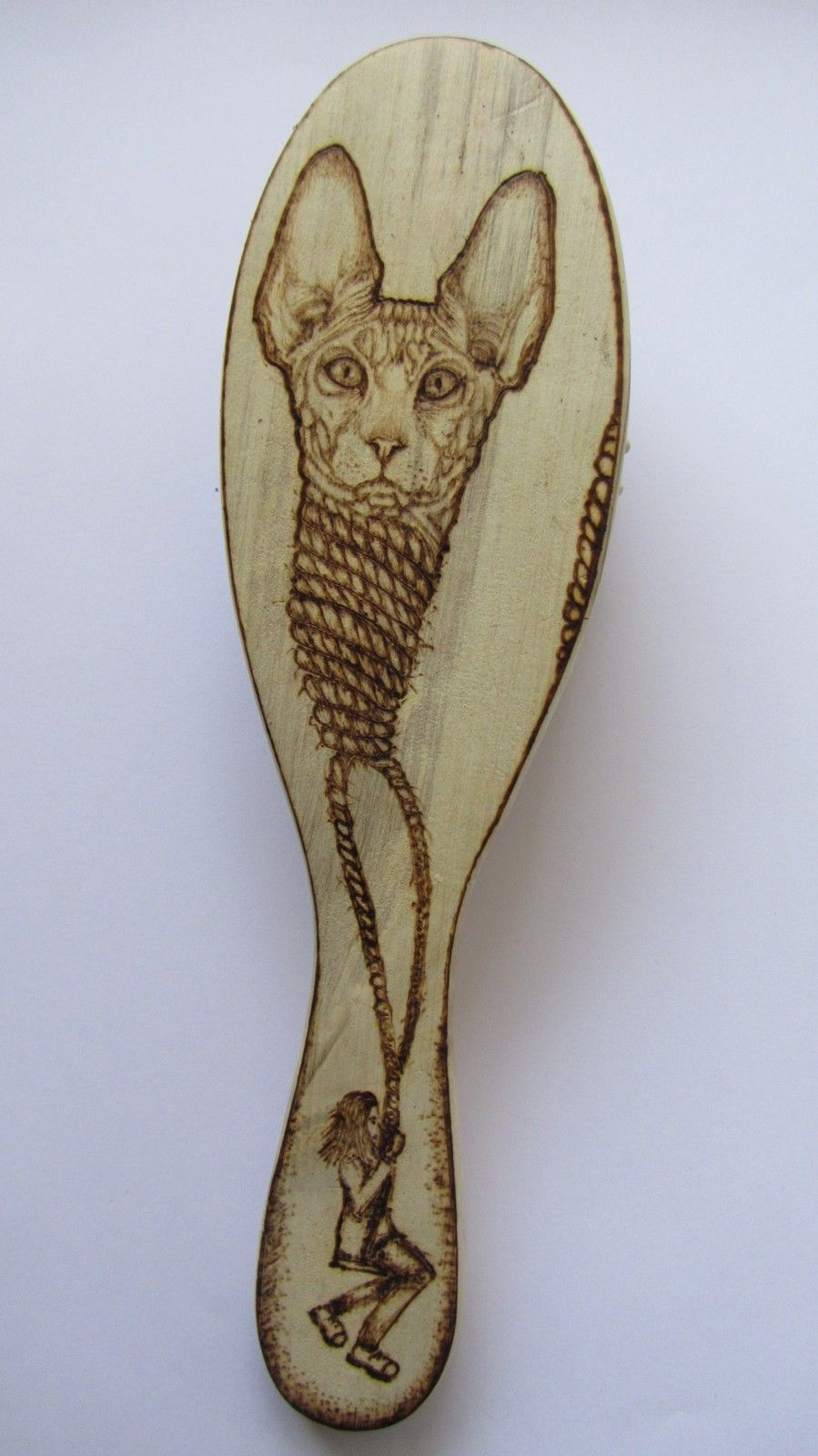 HAND CARVED WOODEN HAIR BRUSH PYROGRAPHY CAT SPHYNX CRADLE