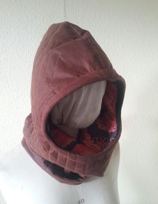 Waxed Cotton Balaclava / Hood with Quilting Detail || AmiCharnel via Etsy