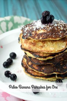 Paleo Banana Pancakes for One is made only 5 simple gluten-free ingredients for the perfect breakfast!