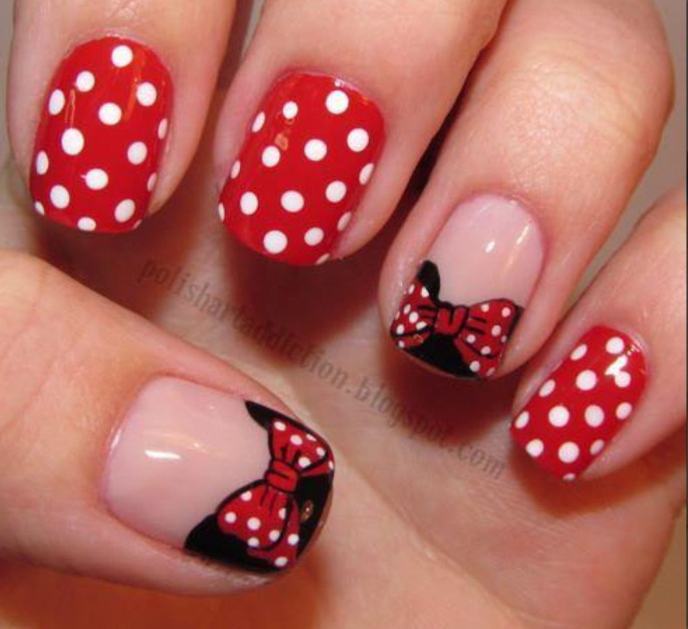 Minnie Mouse nails!   Nails   Pinterest   Minnie mouse nails, Minnie ...