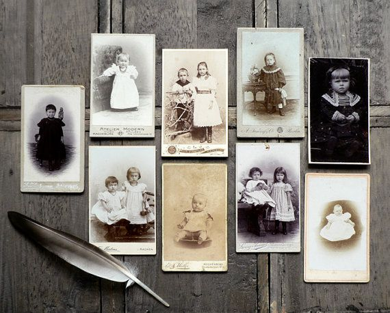 ANTIQUE ///// CDVs of Children, Set of 9 via MaisonPaulette - I'm dreaming of a collection of my own. It would be nature themed.