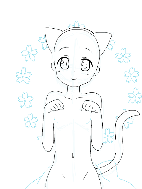 Cute Cat Girl Drawing Base Catdrawing Base De Desenho Desenhos De Chibi Desenho De Poses