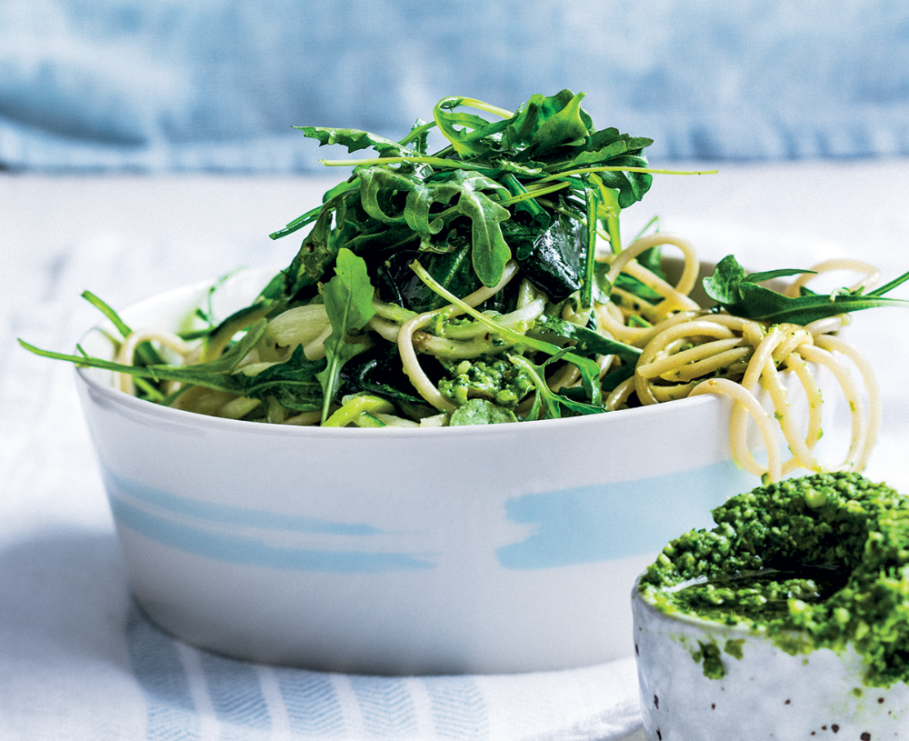 Greens And Pasta With Pecorino Olive And Baby Spinach Pesto Woolworths Taste Recipe Pesto Spinach Pesto Fennel Slaw