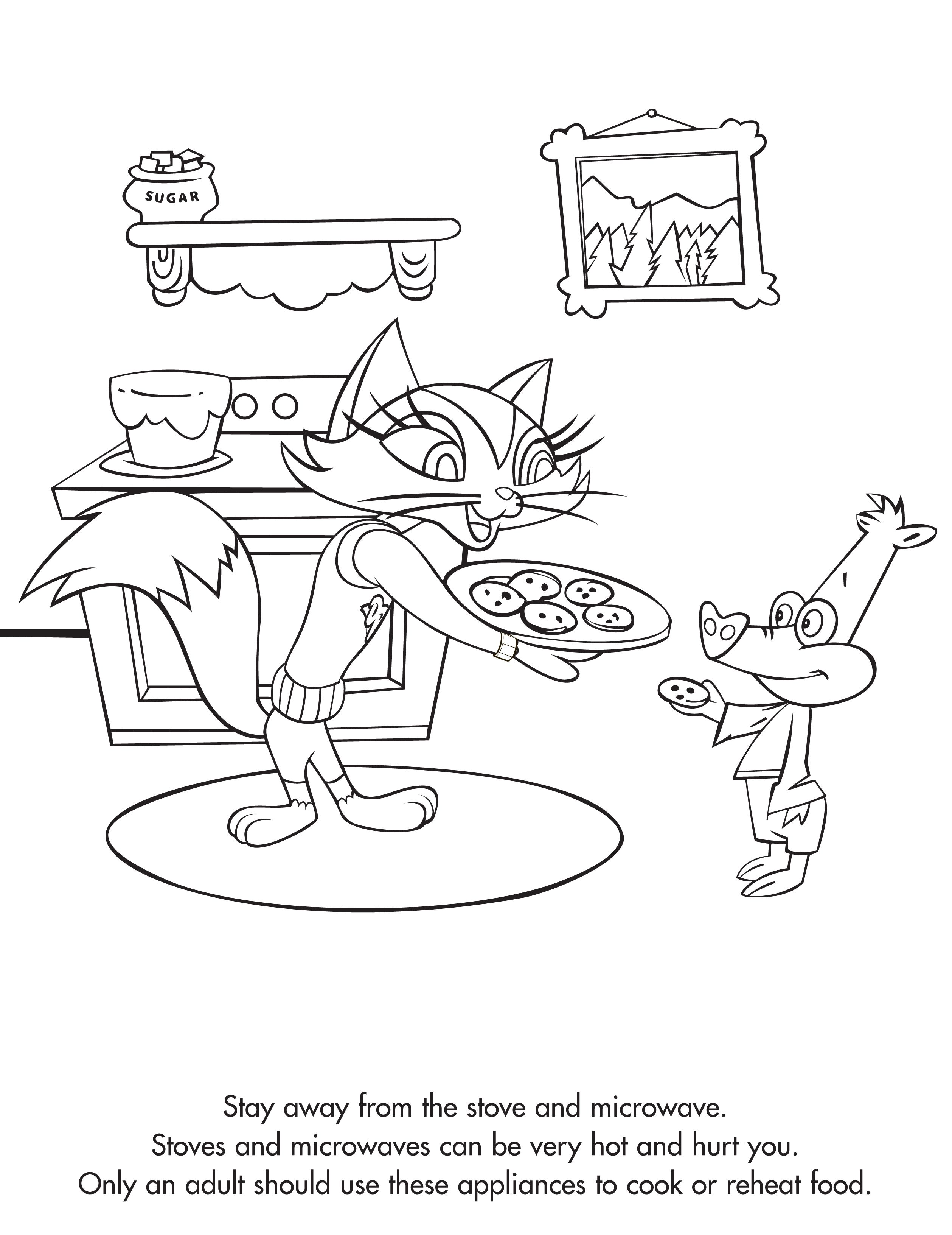 Coloring sheet kitchen - Teach Your Children Kitchen Safety When They Want To Help With The Holiday Cooking Coloring Pagessafetycooking