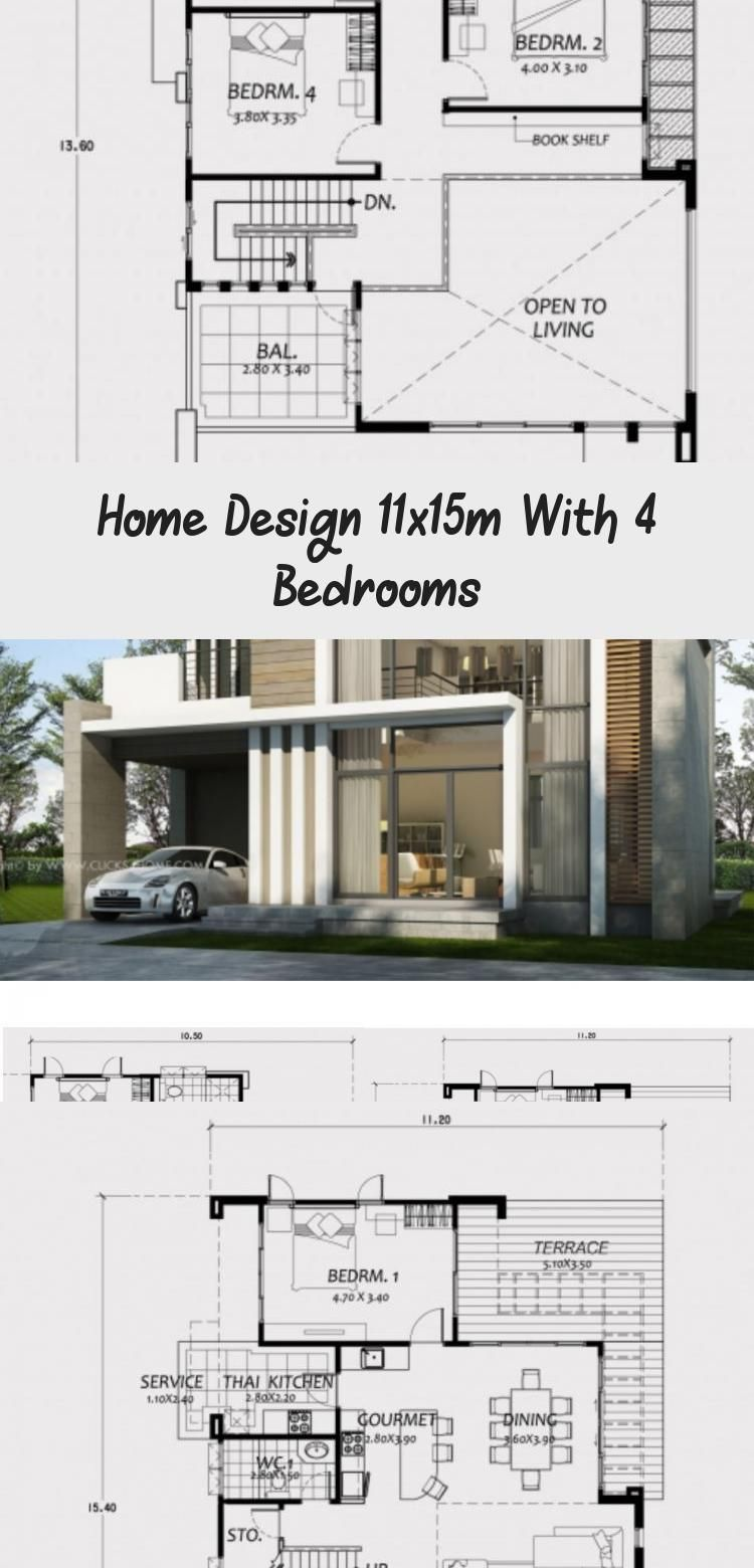 Home Design 11x15m With 4 Bedrooms Home Planssearch Floorplans4bedroomnarrow Floorplans4bedroomlshape In 2020 House Design Modern Architecture Floor Plan 4 Bedroom