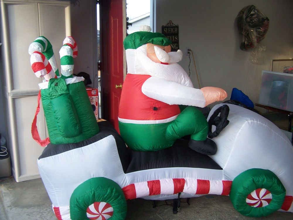 Christmas Airblown Santa On Golf Cart Inflatable