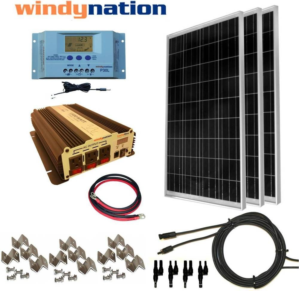 Complete Kit 300 W Watt 300w Solar Panel 1500w Inverter 12v Rv Boat Off Grid Ebay Solar Energy Panels Solar Panel Kits Solar Panels