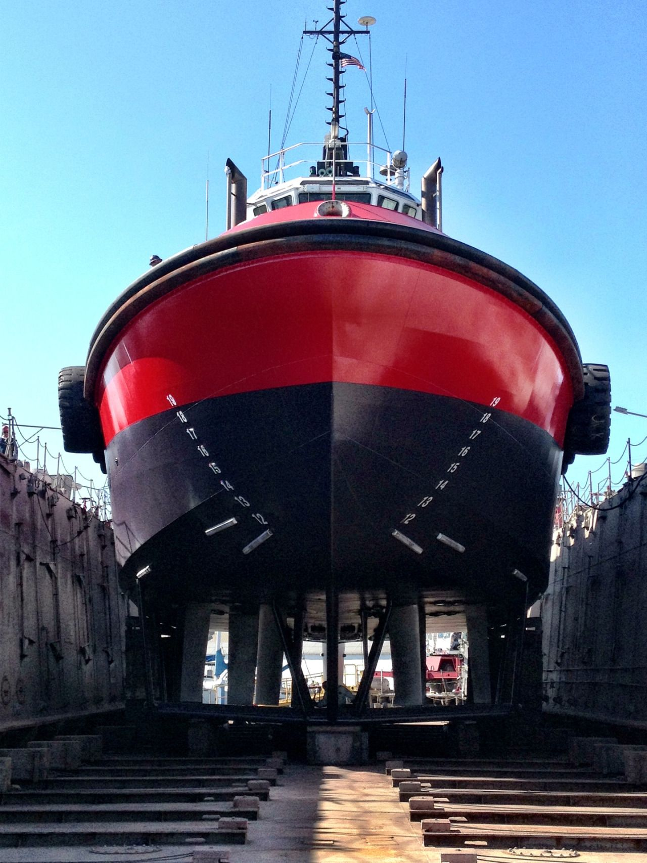 Image Of A Crowley Harbor Class Tug In Dry Dock Showing The Voith Schneider Propulsion Units Image By Author Tug Boats Boat Building Tug
